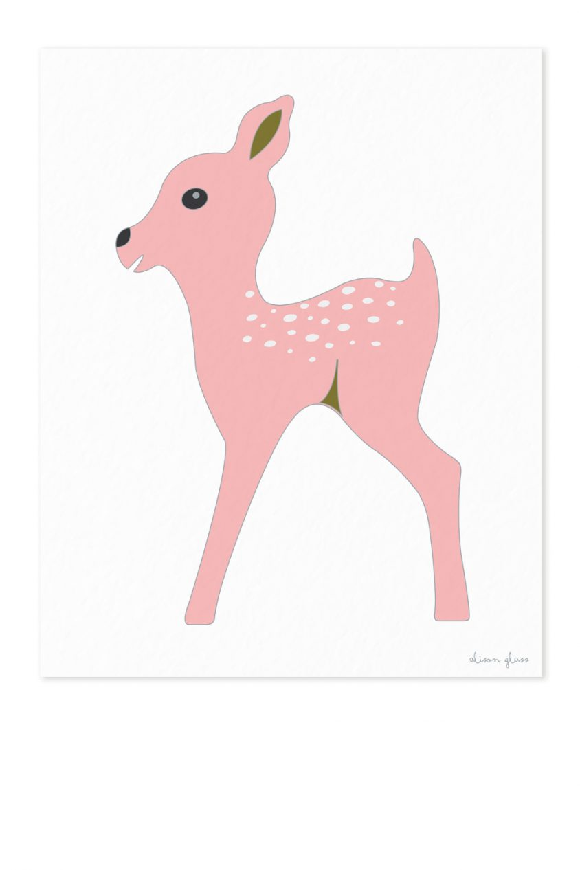 fawn in light pink art print