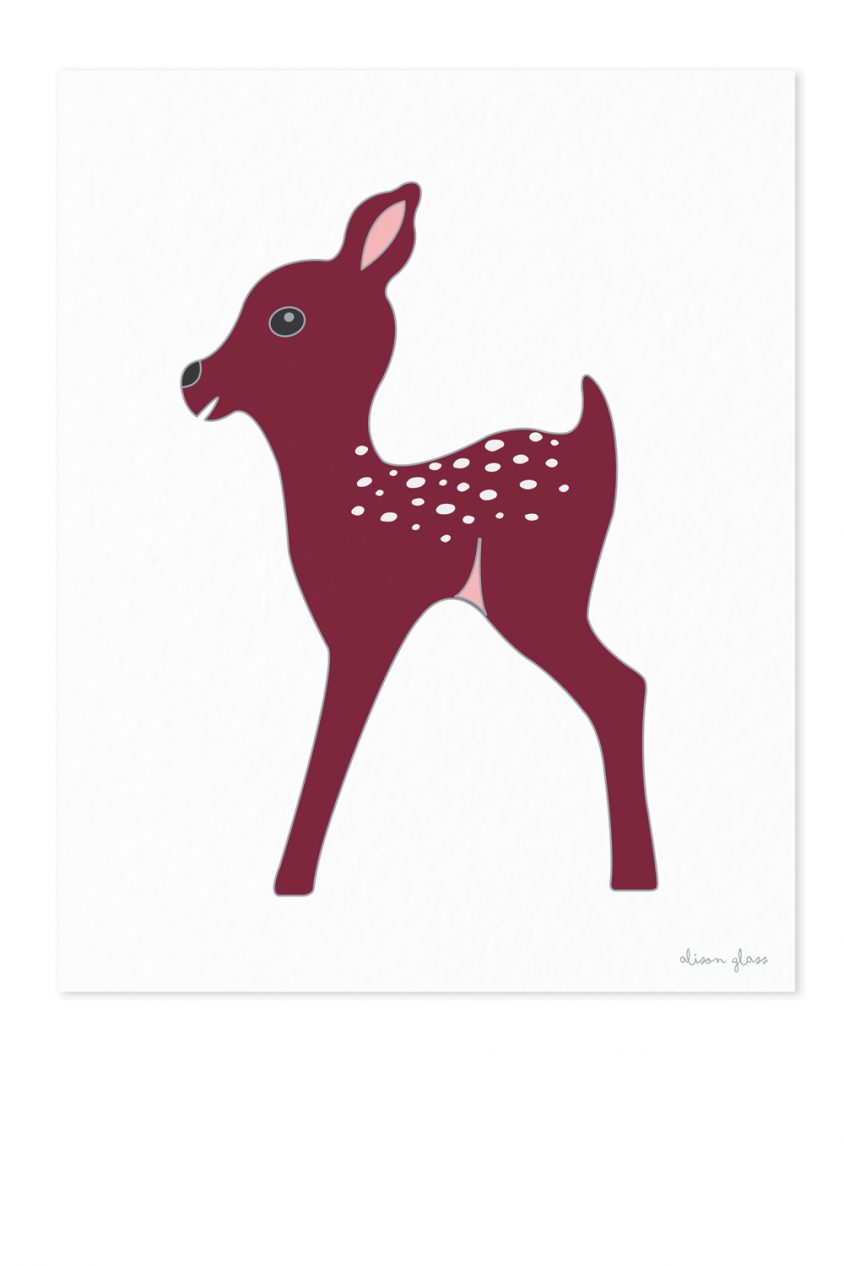 fawn in maroon art print