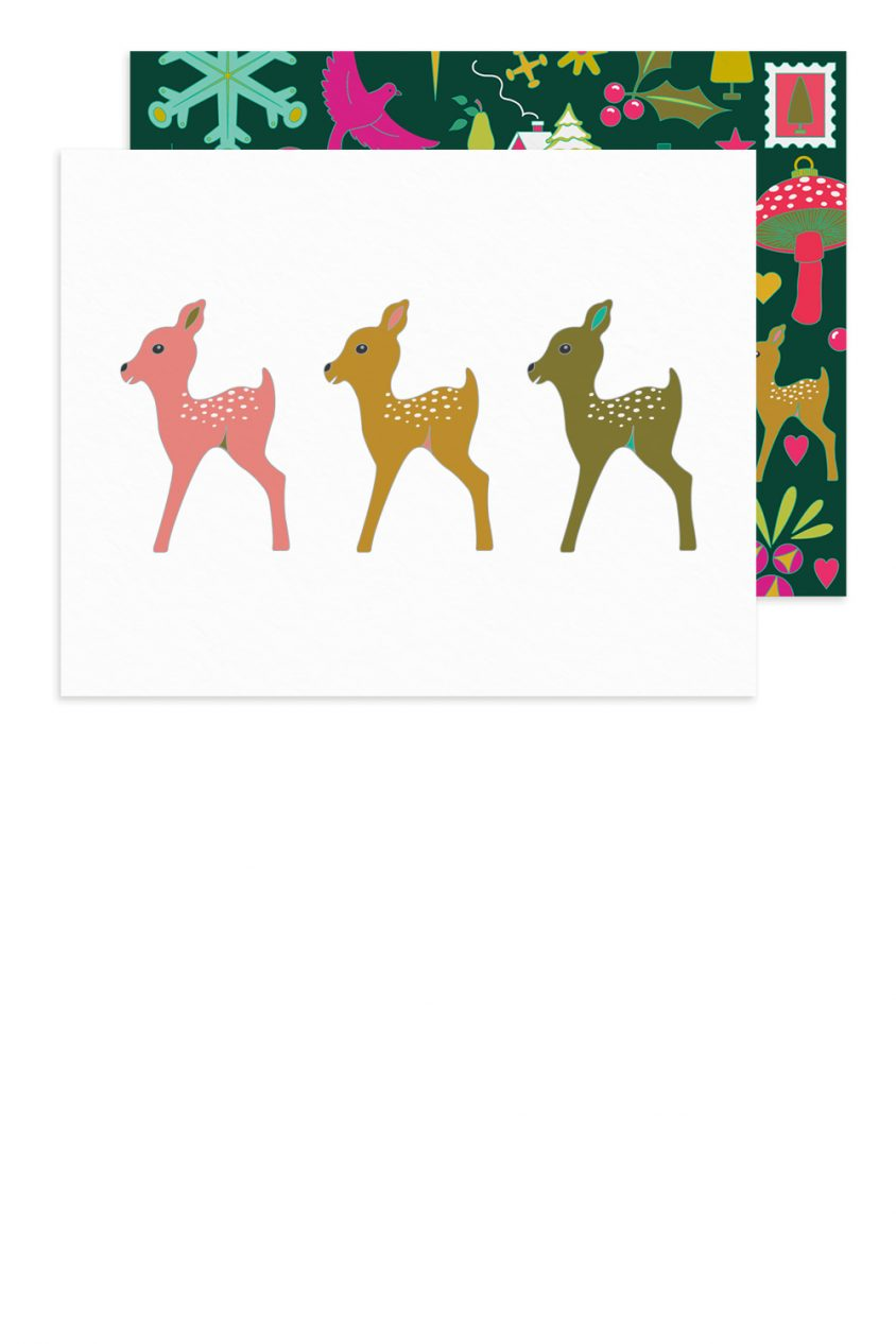 holiday fawns card