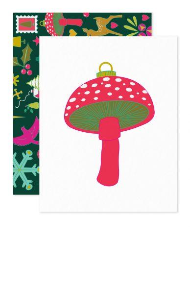 holiday mushroom card
