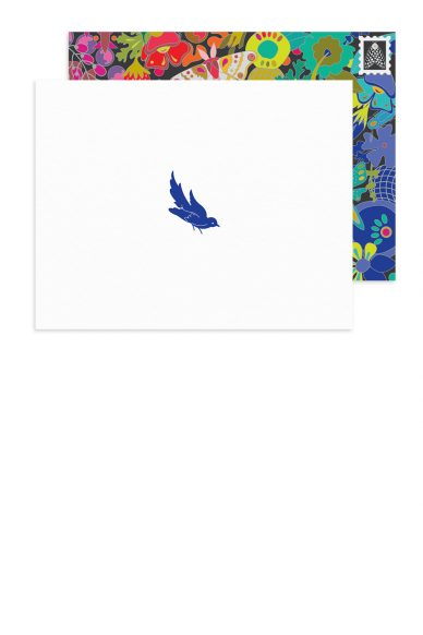 insignia sitting bird card with ex libris envelope