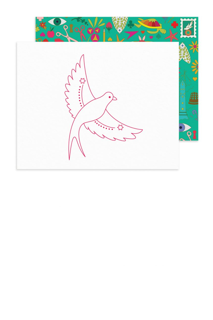 linework flying bird card