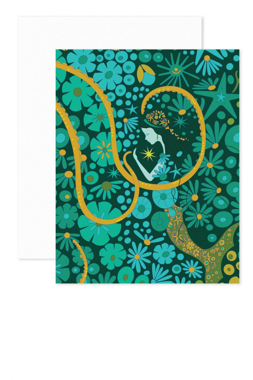 green mermaid card