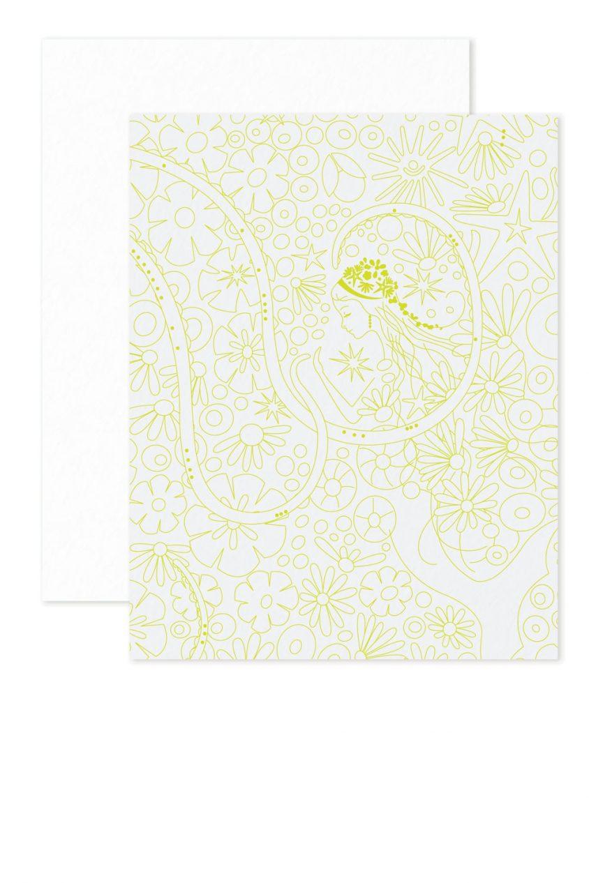 green mermaid linework card