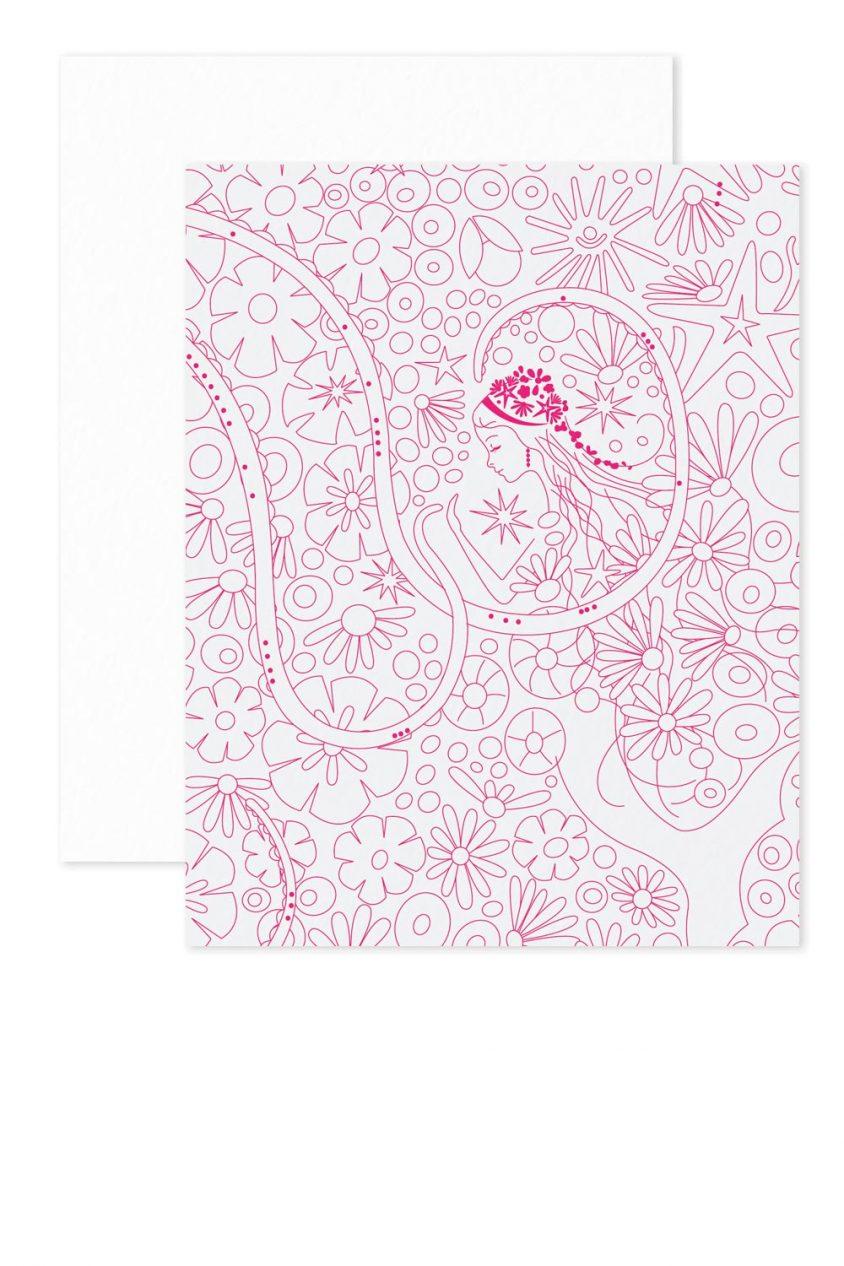 pink mermaid linework card