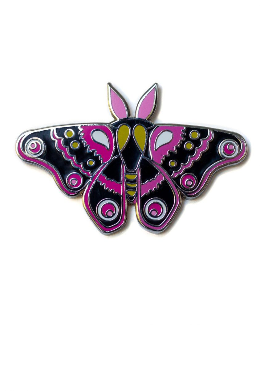 moth pin in black and pink
