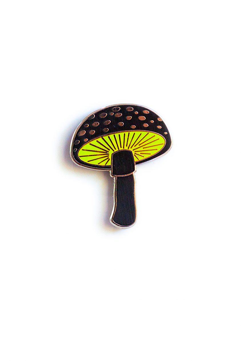 black mushroom enamel pin
