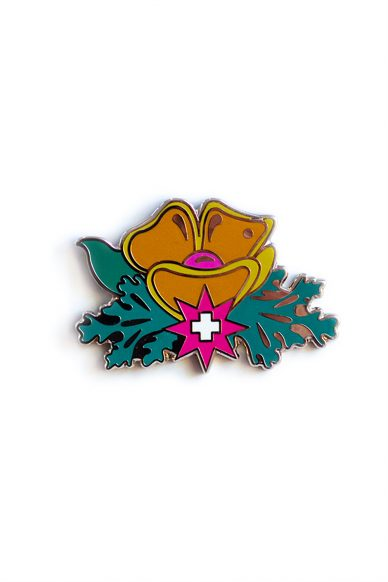 gold plus flower enamel pin