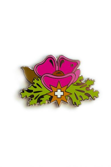purple plus flower enamel pin