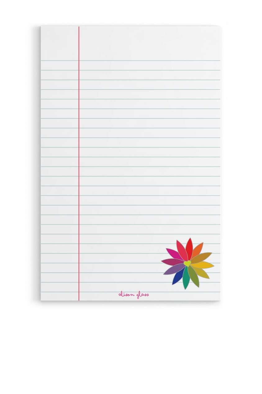 rainbow flower notepad