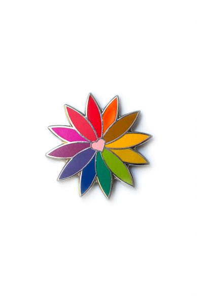 pink rainbow flower enamel pin