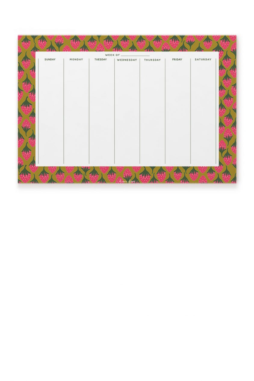 strawberry calendar notepad