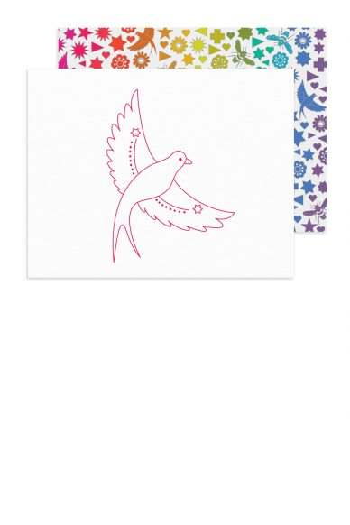 linework flying bird card