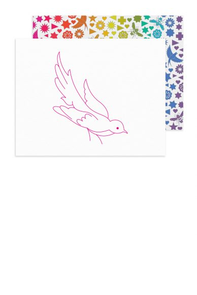 linework bird card