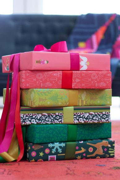 set of gift wrap papers