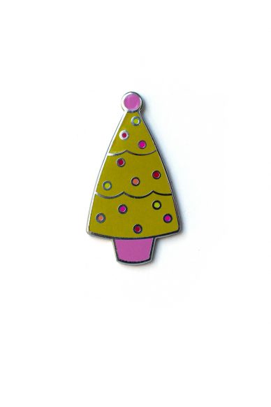 chartreuse holiday tree enamel pin