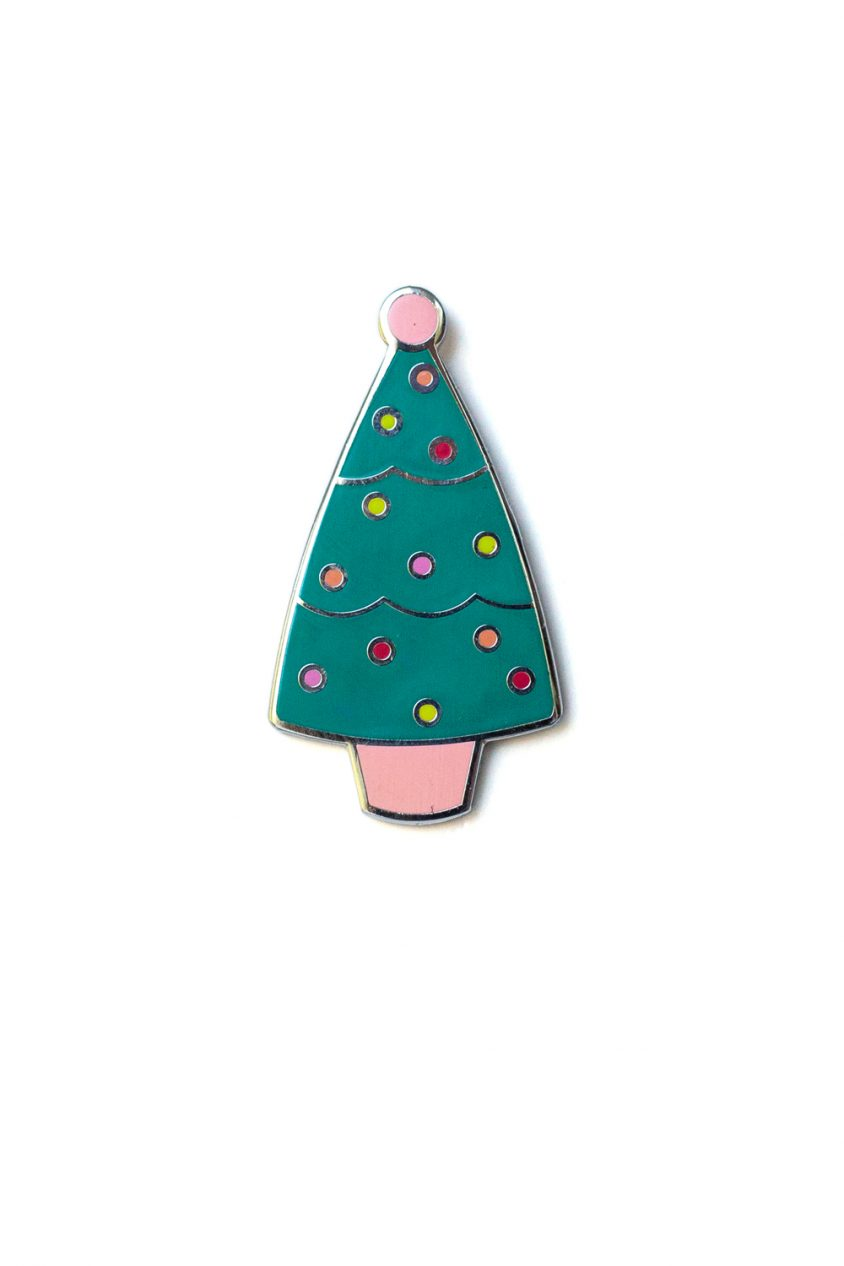 jade holiday tree enamel pin