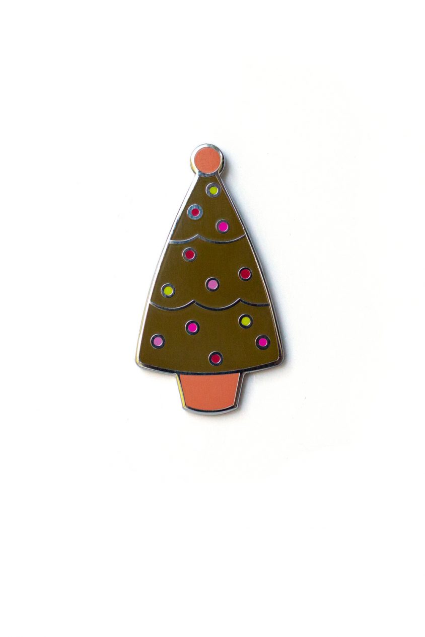 olive holiday tree enamel pin