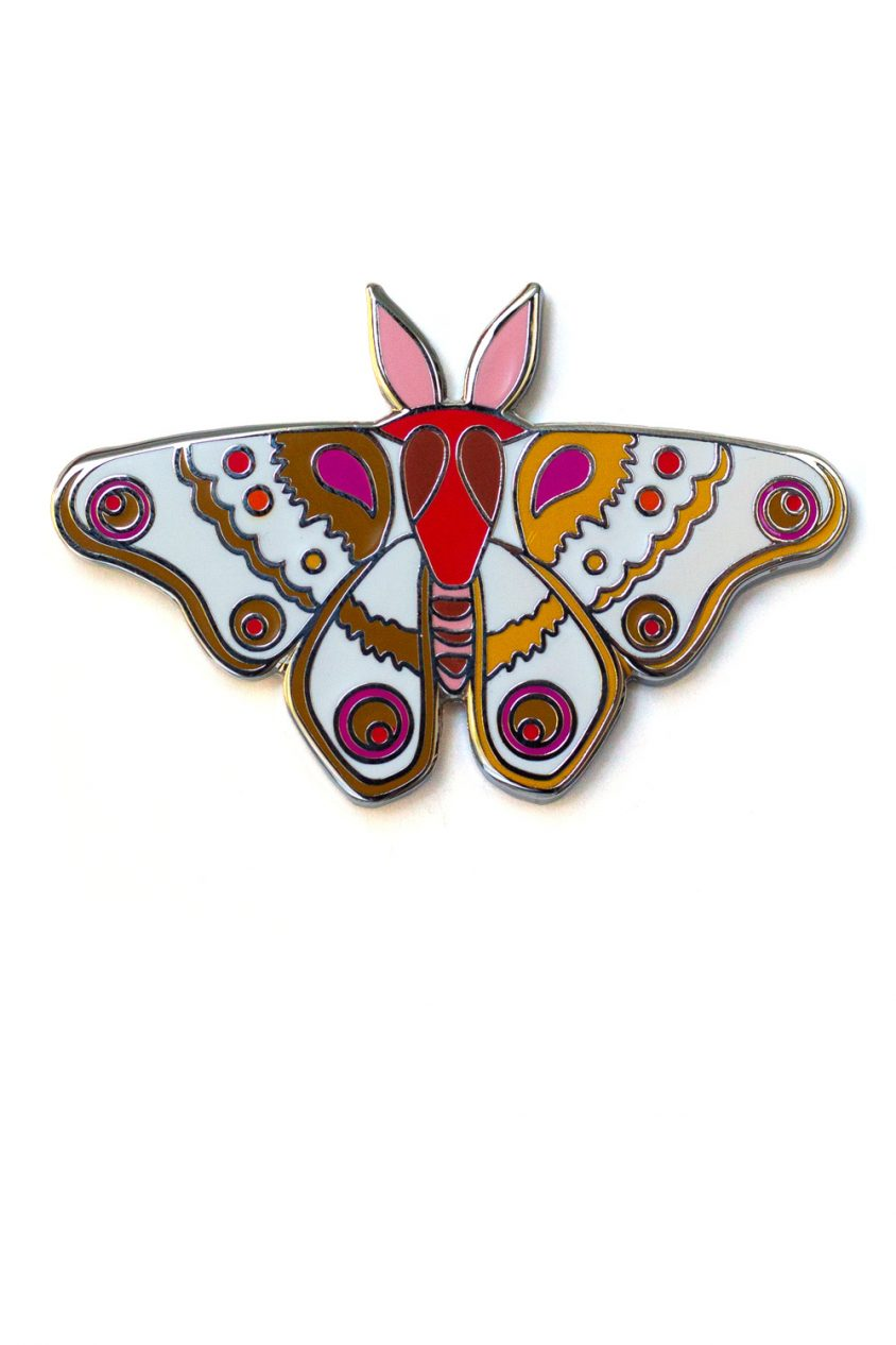 gold and salmon moth enamel pin