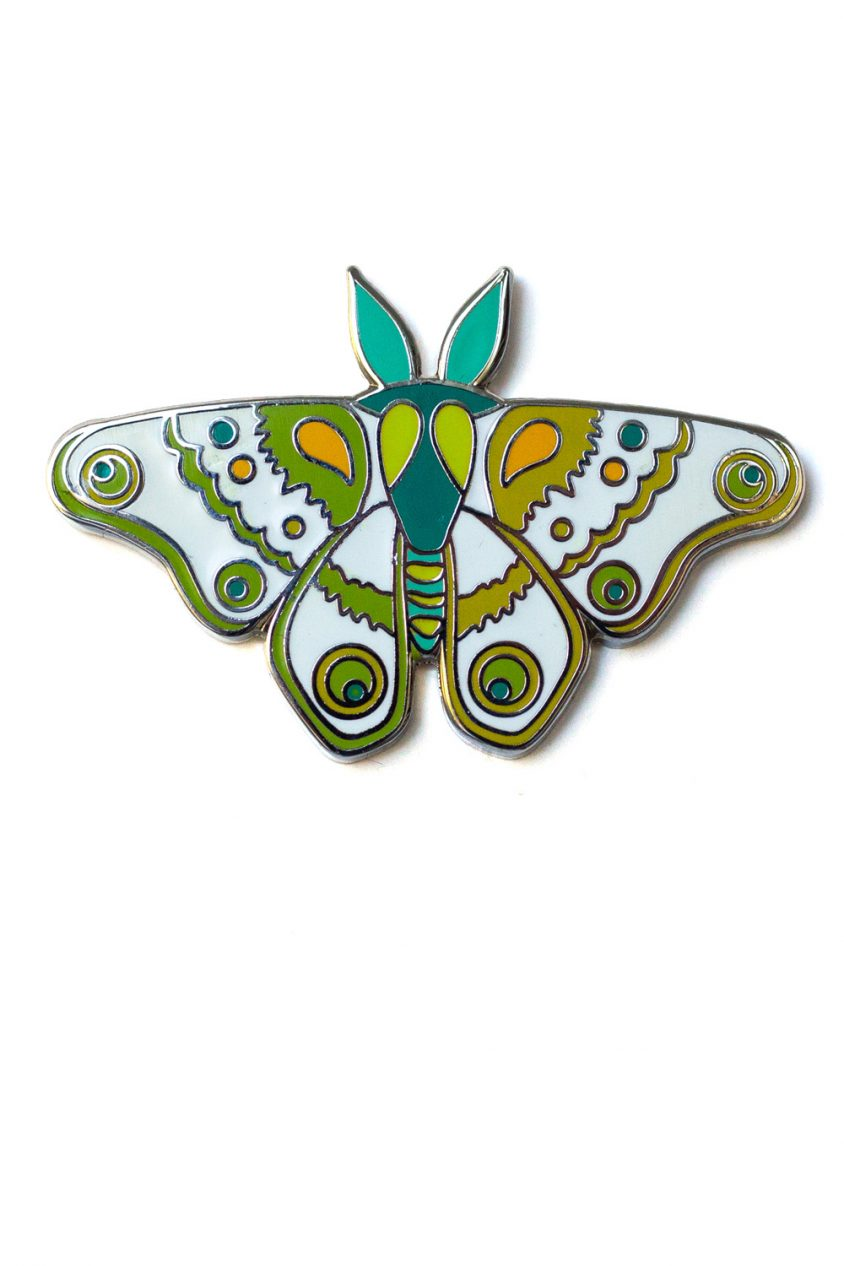 jade and green moth enamel pin