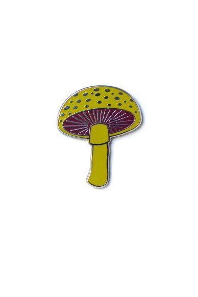 acid green mushroom enamel pin