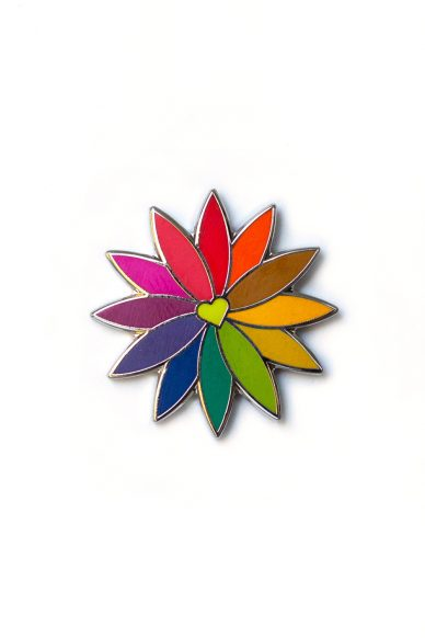 lime rainbow flower enamel pin