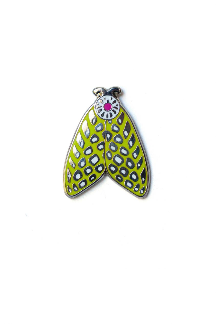 lime spotted moth enamel pin