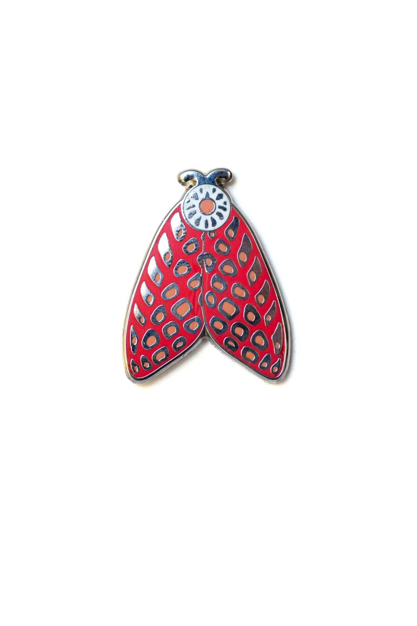 pink spotted moth enamel pin