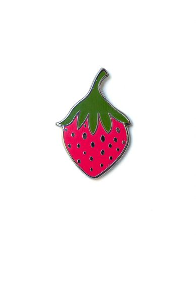 pink strawberry enamel pin