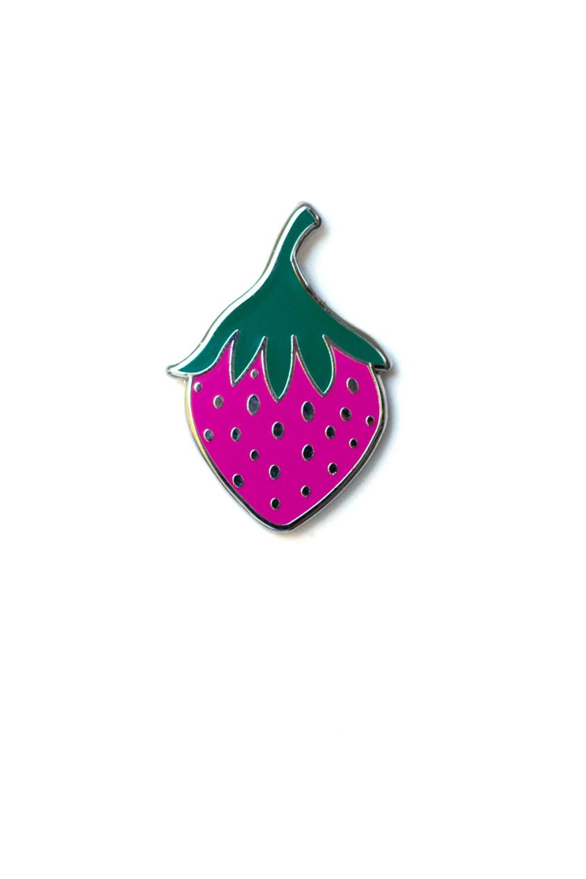 purple strawberry enamel pin