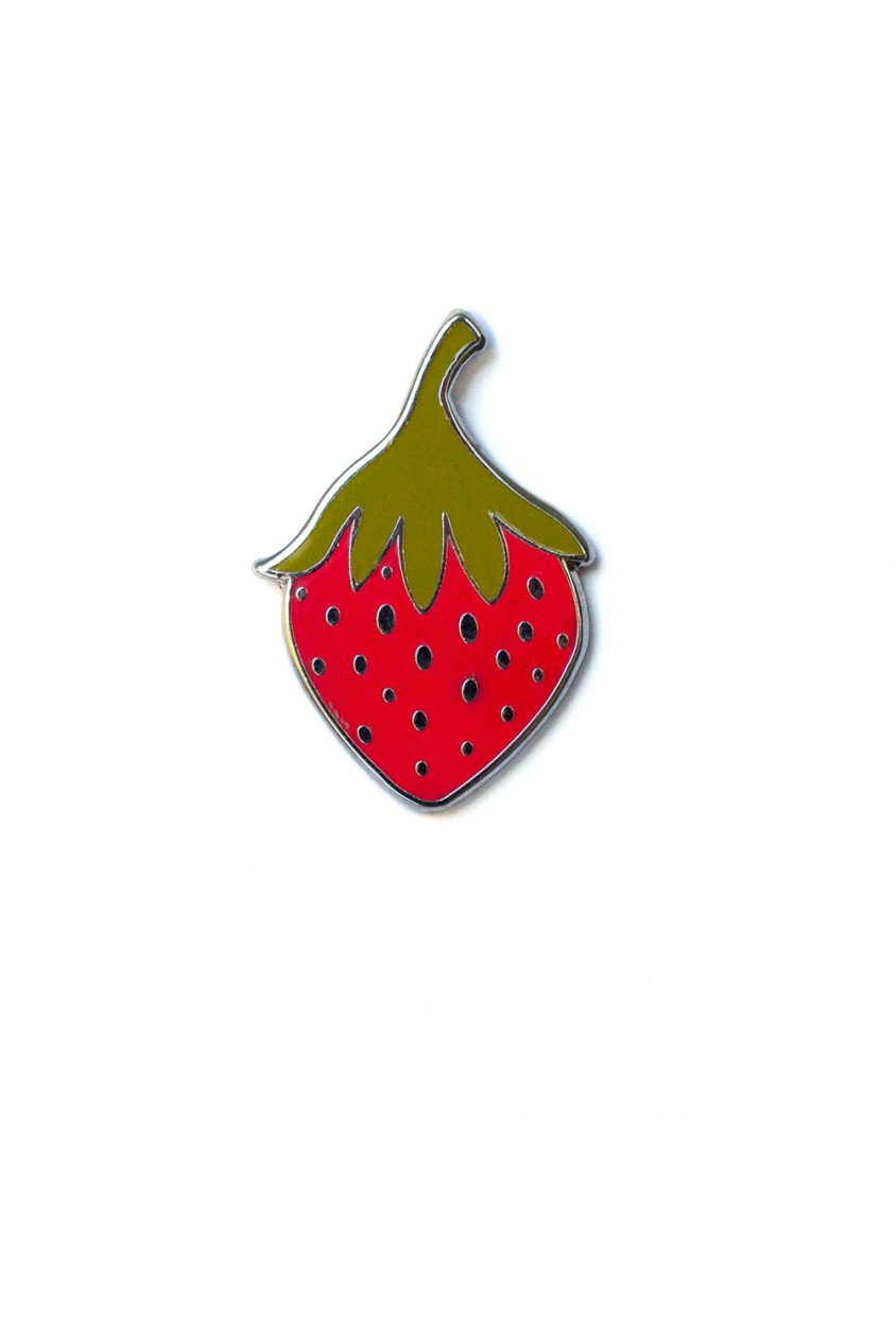 red strawberry enamel pin