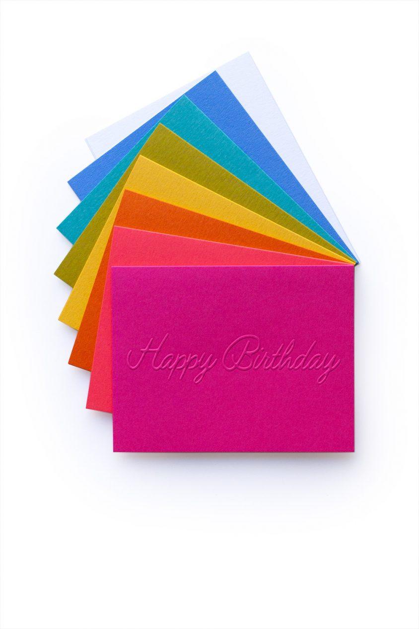happy birthday embossed card set