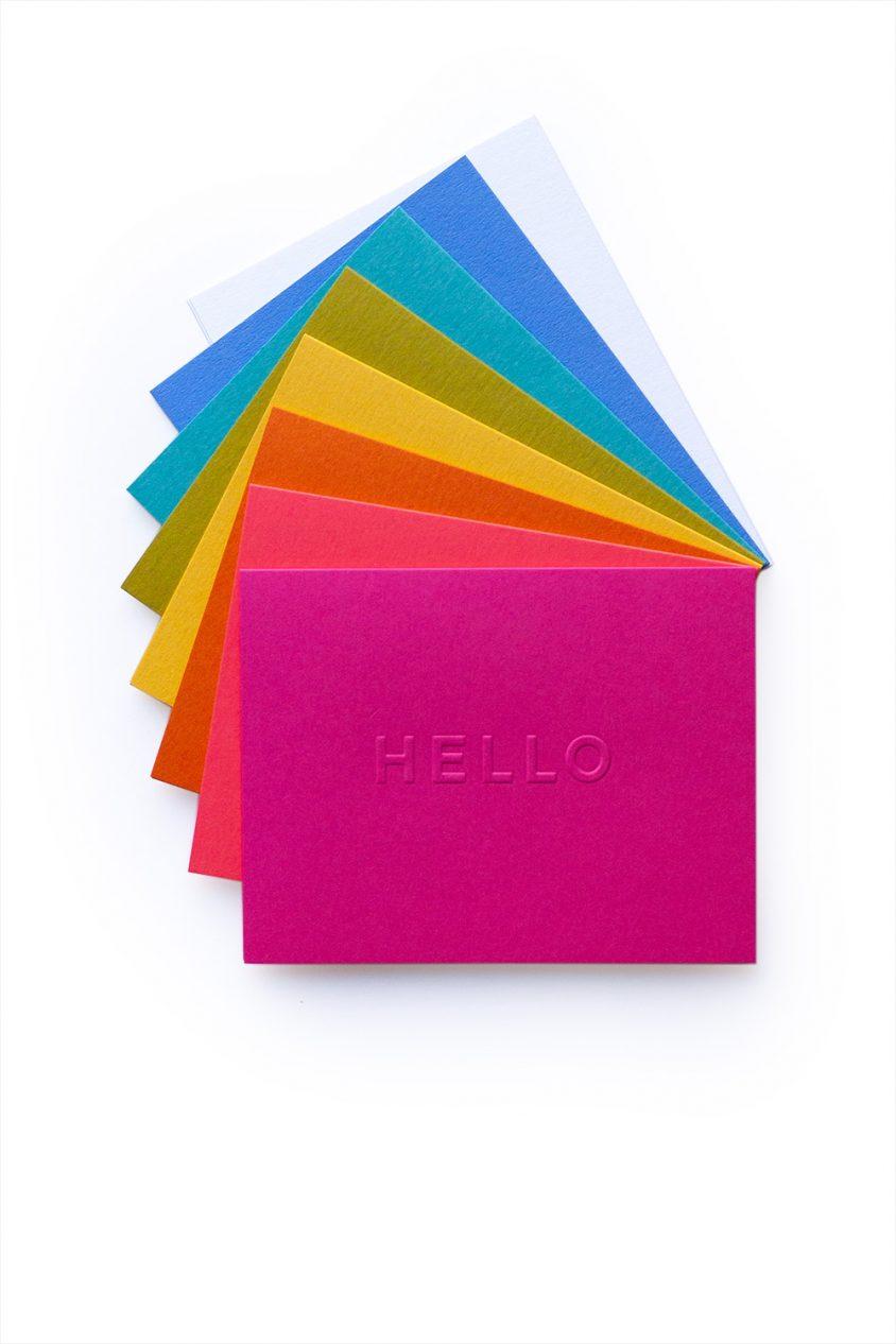 hello embossed card set