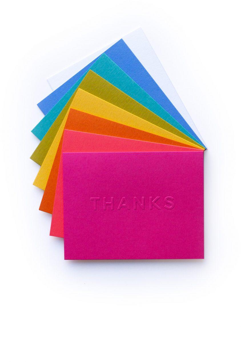 thanks embossed card set
