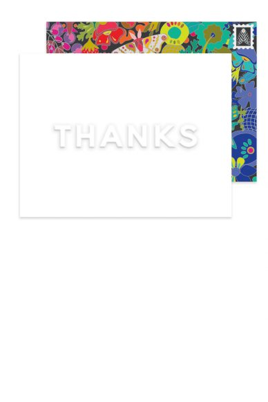 embossed thanks card