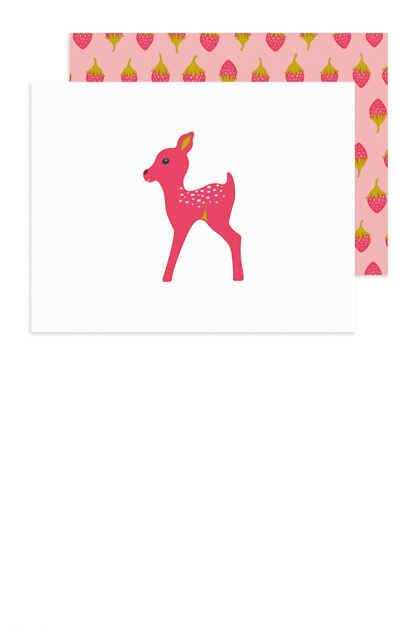 pink fawn card