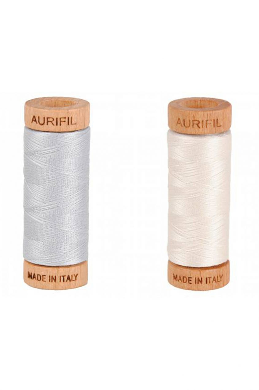 auifil 80wt thread in cream and grey
