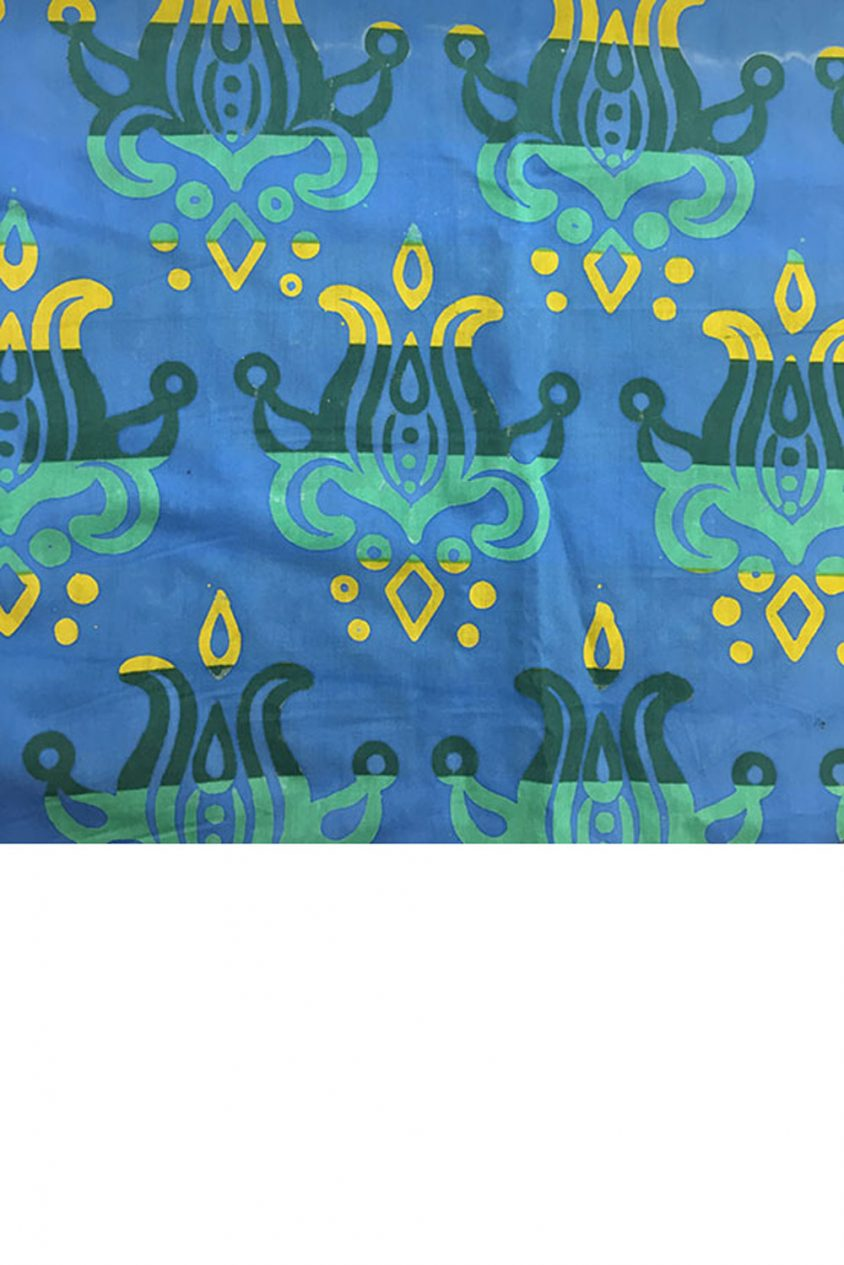 handcrafted patchwork lotus in sapphire yardage