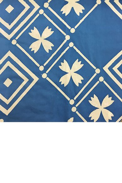 handcrafted patchwork tile in cornflower yardage