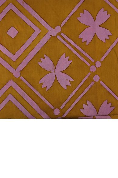 handcrafted patchwork tile in goldenrod yardage