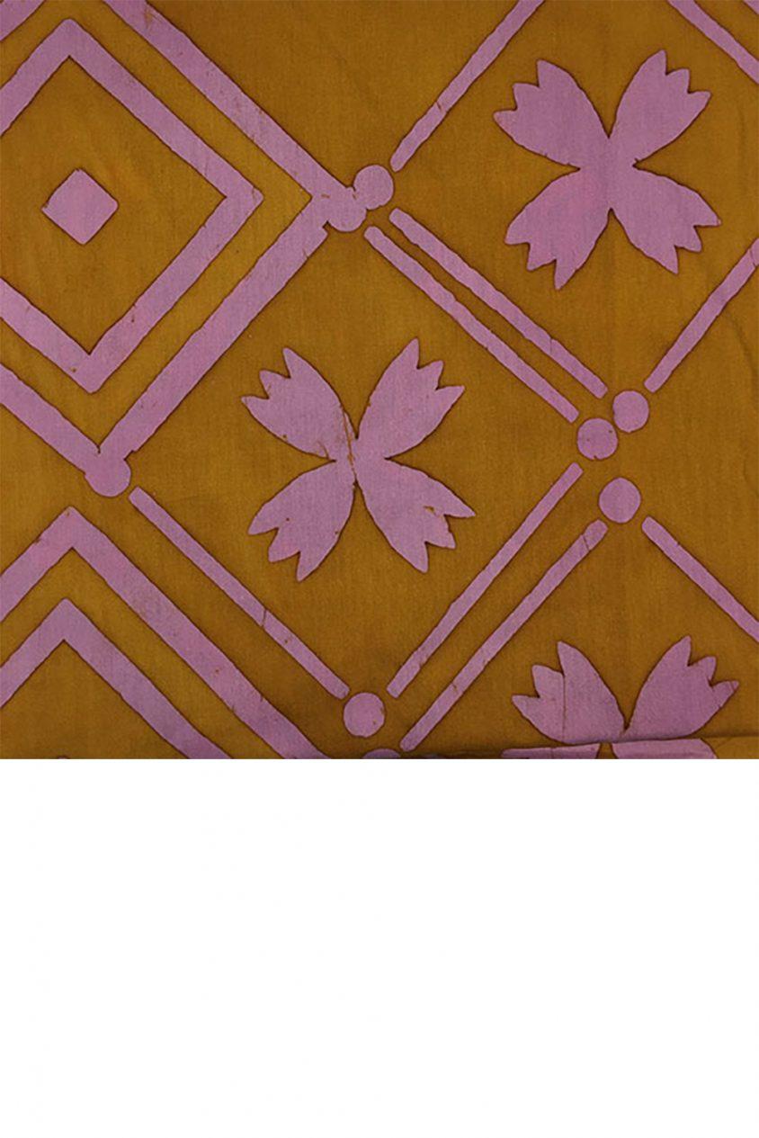 handcrafted patchwork tile in goldenrod yardage