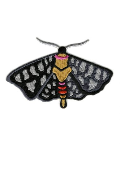 black and grey moth patch