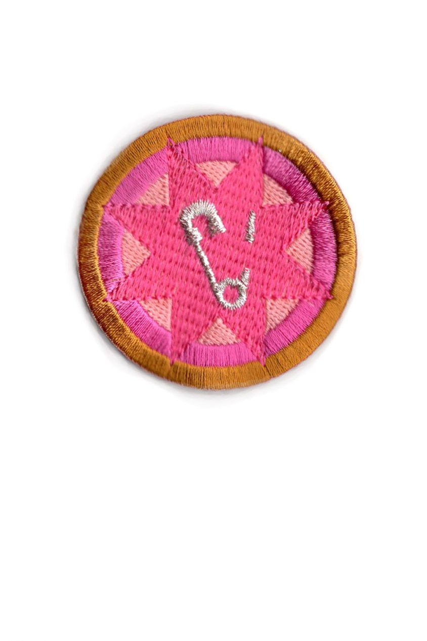 pink safety pin patch