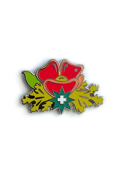 pink plus flower enamel pin