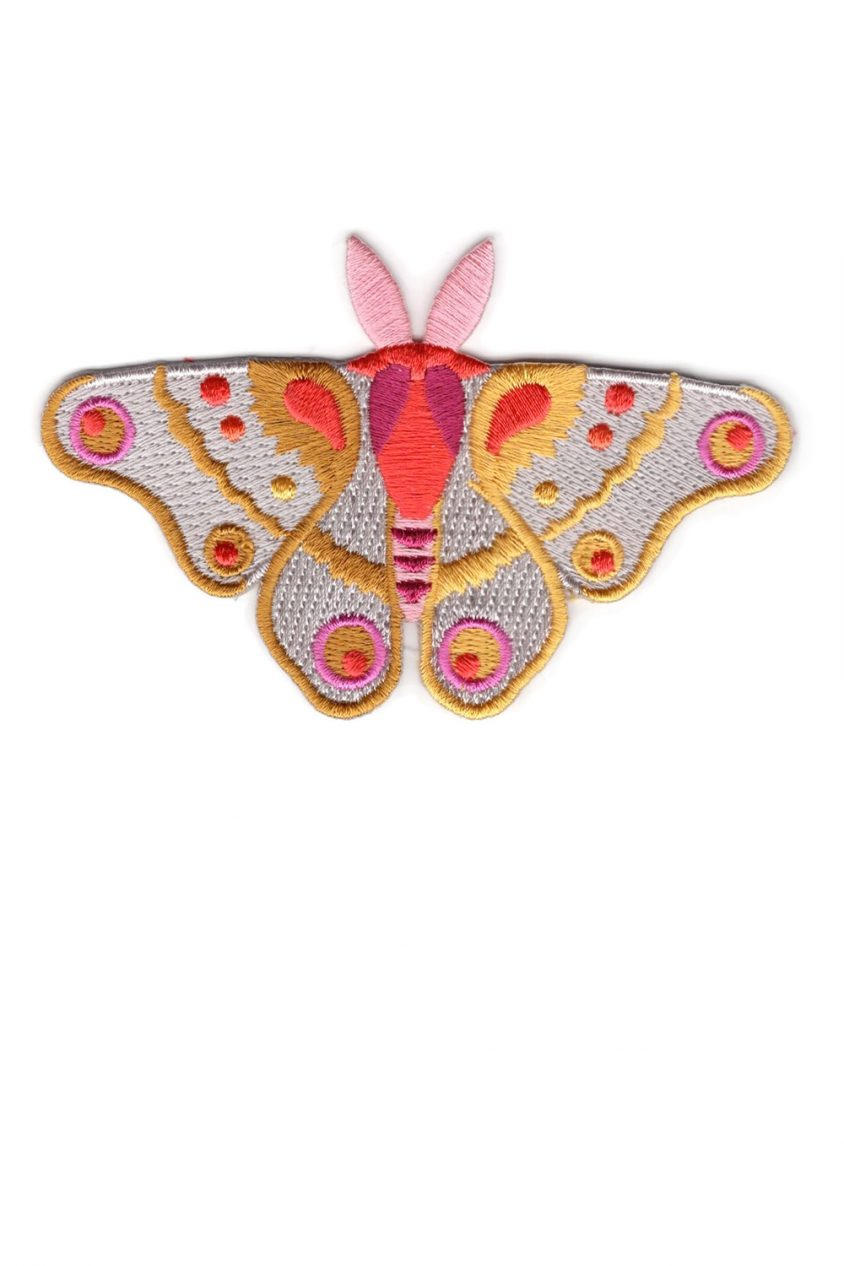 pink and gold moth patch