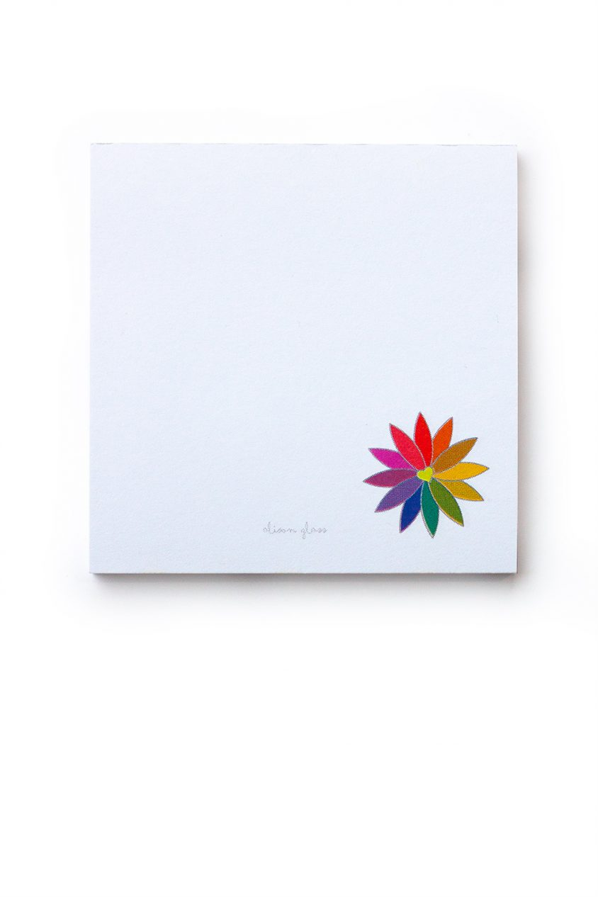 rainbow flower sticky note