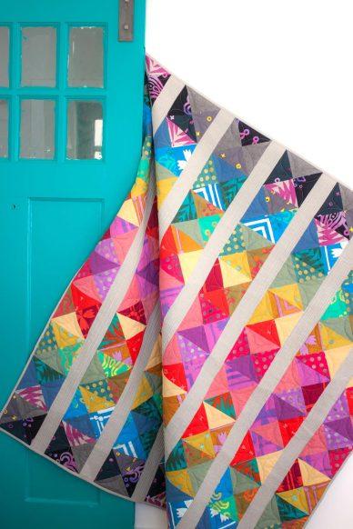 spectrum quilt in handcrafted patchwork
