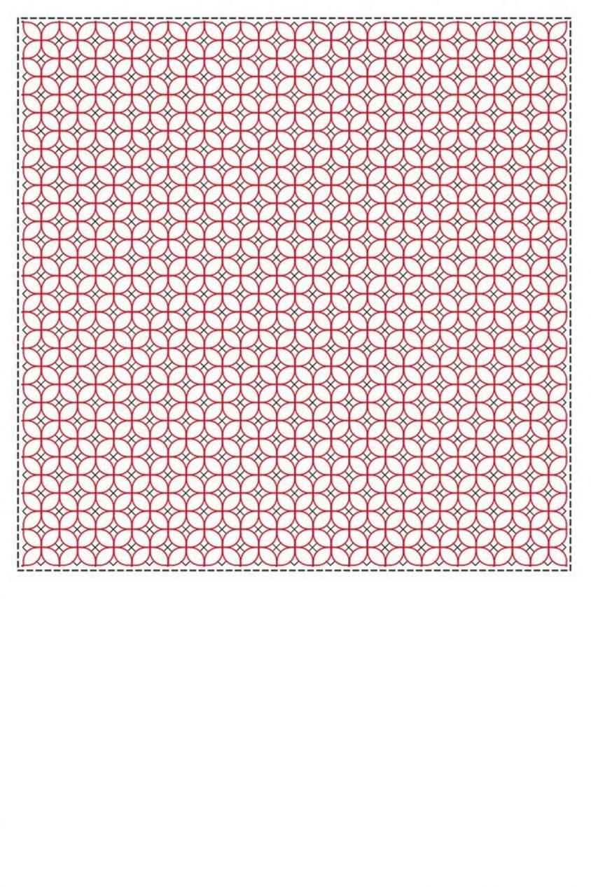 sashiko cloth printed with traditional asagao design