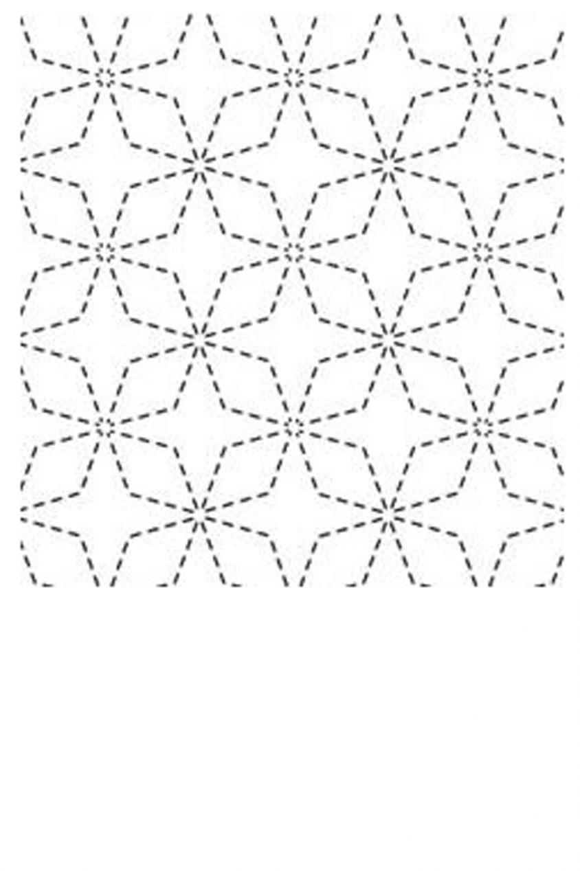 sashiko cloth printed with traditional kaku shippo design