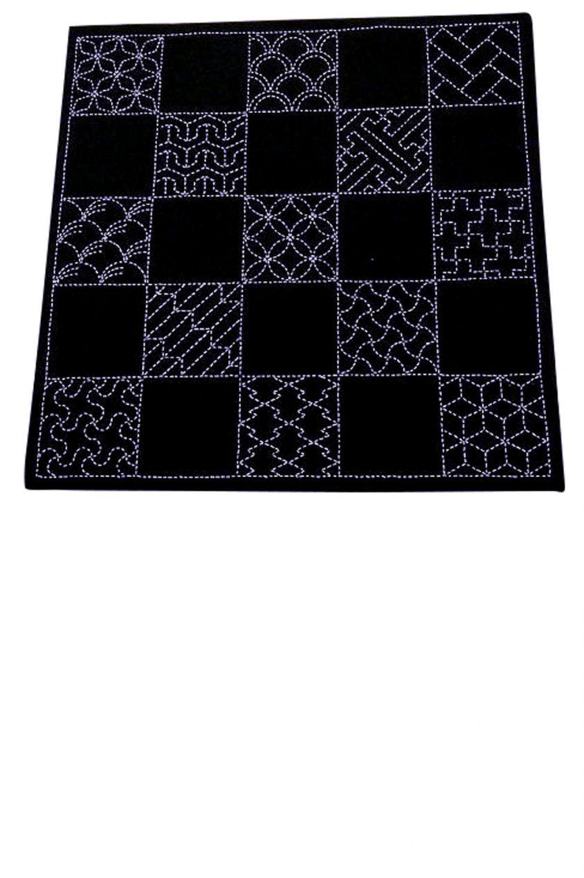 sashiko cloth printed with multiple designs